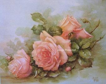 Fresh Pink Garden Roses, Art Print, Half Yard Long, Catherine Klein, Shabby Chic Decor