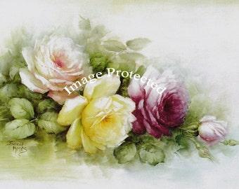 Summer Cabbage Roses Print No 1, Art Print, Catherine Klein, Half Yard Long, Shabby Chic Decor