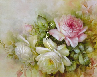 Summer Cabbage Roses No 2, Art Print, Half Yard Long, Catherine Klein