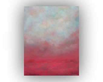 Pink Gray and Blue Abstract Landscape- Spring Sky and Clouds Oil Painting- Original 16 x 20 Palette Knife Art on Canvas