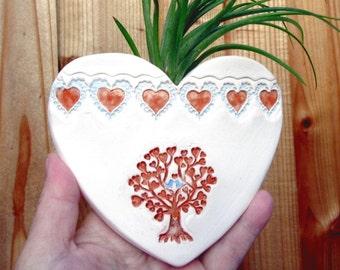 Small Heart Tree, - Heart Shaped Pocket Pouch Decor Hanging Ceramic Planter - Vase Ornament - Air Plants Planter