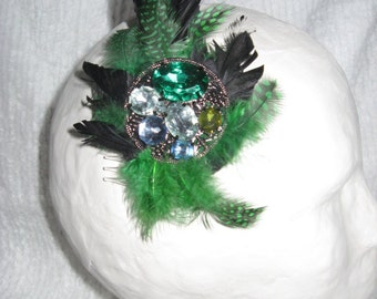 Black and green feather fascinator