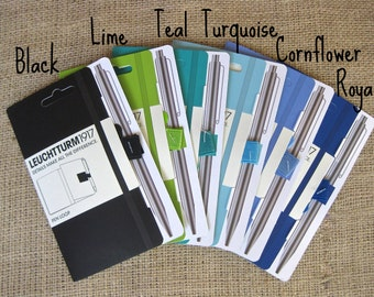 Colored Pen Loop (Blues/Greens), Self-Adhesive Pen/Pencil Holder Attaches to Journal, Notebook, Binder or Book