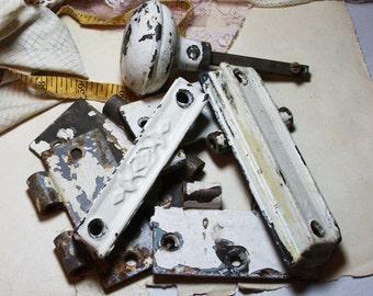 White Chippy Paint HARDWARE Lot- Hinges- Doorknob
