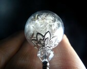 SILVER Dandelion Necklace Make A Wish Dandelion Seed Hollow Lampwork Bead Round Necklace Swarovski Accent  - 24 inches