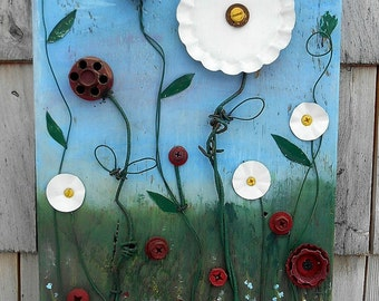Spring Flowers Salvage art Assemblage, Found Objects painting on reclaimed wood, Recycled Art, Rustic wall decor