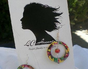 Colorful watercolor paper hoop earrings with bead