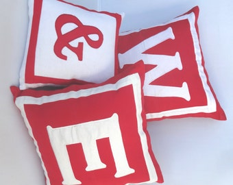 Red and white ampersand throw  pillow. monagram pillow covers.toss  cushion  cover Custom Made