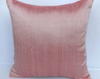 blush pillow, pink pillow, blush pink pillow, dupioni silk pillow. light pink throw pillow, cushion cover, decorative pillow, 24inch