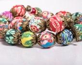 First Flowers of Spring Polymer Clay Bead Memory Bracelet, Vintage Style Bracelet
