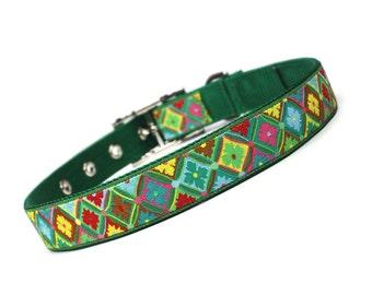 SALE - Christmas medallions metal buckle dog collar (1 inch)