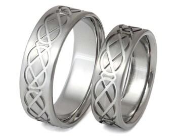 Irish Celtic Titanium Wedding Band Set - His and Hers - Matching Bands - stck1