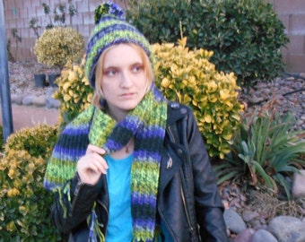 dragonfly knit scarf and hat set