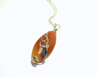 Carnelian Pendant, Iolite Pendant, Sterling Silver Necklace, Top Selling Pendant, Best Selling Jewelry, Boho Chic Pendant, Gift Ideas