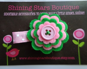 Felt Flowers - St. Patrick's Day Green And Pink Layered Felt Flower Boutique Hair Clippie With Button Center For Girls