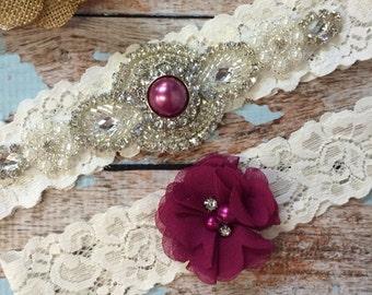 Sangria Wedding garter / Lace garter SET / bridal  garter / vintage lace garter / toss garter / wedding garter