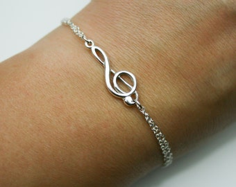 Adjustable Treble Clef Bracelet in Sterling Silver - Double Chain Treble Clef Bracelet