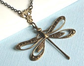 Brass Cutout Dragonfly Necklace - Dragonfly Jewelry
