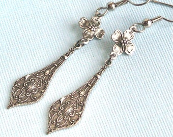 Silver Drop Earrings - Dogwood,  Flower Earrings