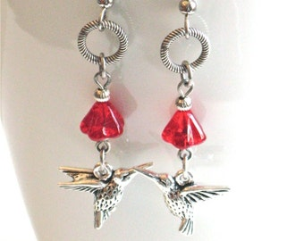 Silver Hummingbird Earrings - Bird Jewelry, Flower Earrings, Nature Jewelry, Red Earrings