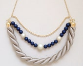 Crescent Moon Rope Necklace -Tan