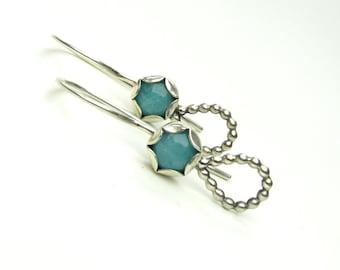 Amazonite Sterling Silver Earrings - Amazonite Silver Earrings - Blue Drop Earrings - Amazonite Drop Earrings
