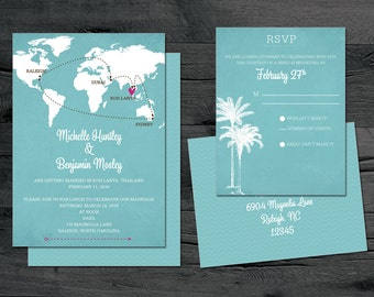 World Map Wedding Invitation Set - Destination Wedding