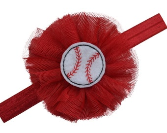 Baseball Fan Headband For Babies and Toddlers Elastic Band with Tulle Flower & Embroidered Baseball