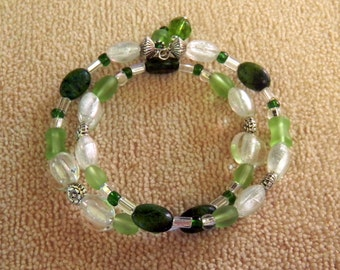 Emerald and seafoam green and clear glass bead memory wire bracelet, cuff, dangle, wrap, coil gift