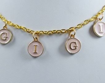GIGI Necklace in Pink and Gold Letters with Gold Chain