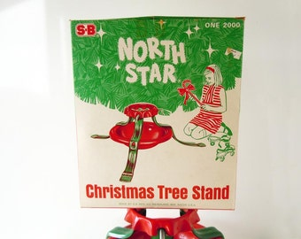 Vintage 1960s Steel Metal Christmas Tree Stand North Star in Original Box Red and Green S B Manufacturing Company