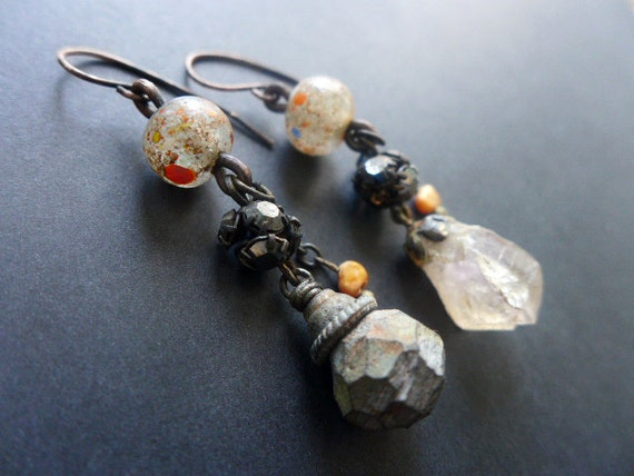 Abessive. Rustic assemblage asymmetrical earrings in grays and orange.