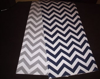 Navy and Gray Reversible Chevron Table Runner