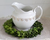 Antique White Ironstone Pitcher American Early 1900's Ohio
