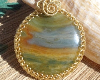 Rainbow wire wrapped agate jasper mix round gemstone pendant large bail handmade