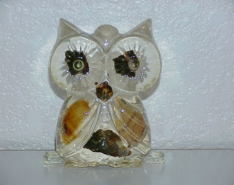Vintage--Lucite Resin OWL--Agate Embellishments