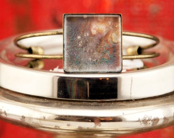 1 Inch Square Hand-Painted Antique Bronze Bracelet, Original Artwork by Hilary Winfield