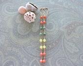 Oceanside earrings - long 14k gold fill wire wrapped & gemstone dangles - coral, lemon jade, turquoise - beach jewelry