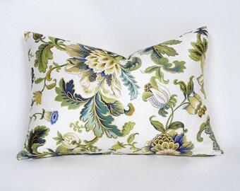 Blue Green Lumbar Pillow Covers, 12x18, Cream Green Gold Jacobean Floral Pillows, Elegant, Romantic Spring Pillows, Oblong Cushion Covers
