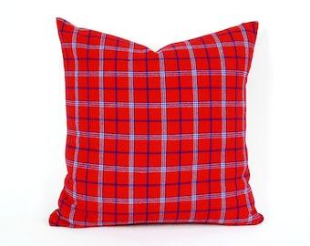 Vintage Red Plaid Pillow Covers, Holiday Pillows, Red Christmas Plaid Pillows, Plaid Cushion Covers, Preppy Plaid Seasonal Decor, 18x18