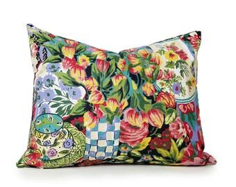 Colorful Cottage Pillow, Unique Floral Pillow, Handpainted Flower Vases, Teacups, Country Home Decor, 14x18, 18x18, 20x20, Lumbar, Oblong
