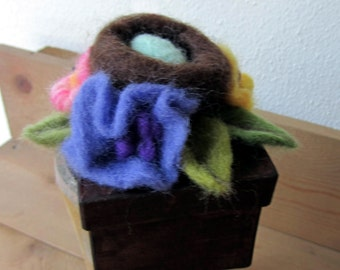 Needle Felted Paper Mache Bird's NEST Box with Blue Egg and FLOWERS Gift Box Original ART