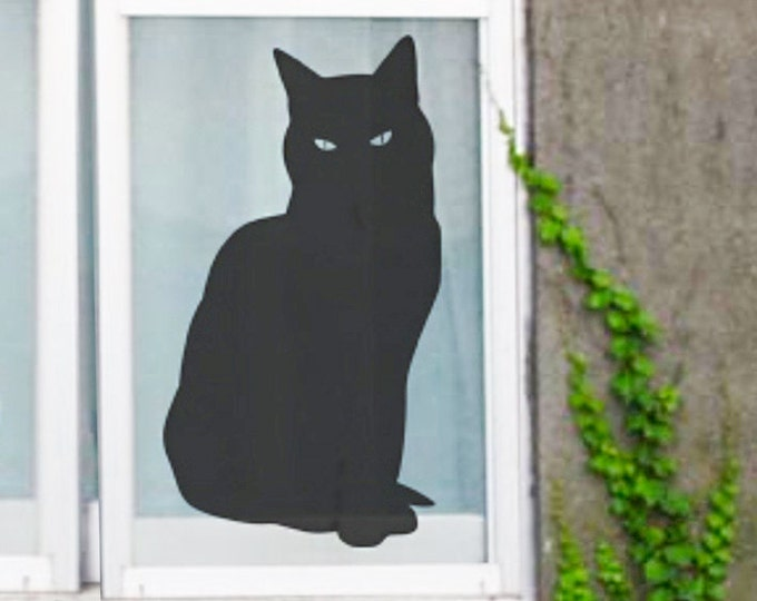 Black Cat Sticker, Wall or Window Decal for Cat Lovers