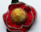 Red and Gold Floral Brooch / Felted Zipper Pin by ZipPinning 2600