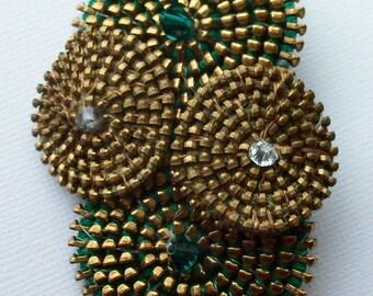 Green Brass Spiral Abstract  Brooch / Zipper Pin by ZipPinning - 2766
