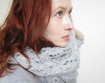 Lace Knit Cowl,Knit Scarf,Grey Scarf