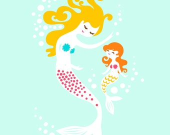 "8X10"" mermaid mother & daughter giclee print on fine art paper. turquoise blue, magenta pink, yellow, blonde, orange redhead"