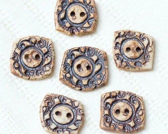Fancy Little Fragment Buttons – Porcelain - Pottery - Clay - Ceramic - Handmade
