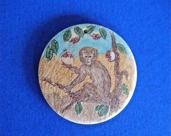 Chinese Monkey Pendant Year of The Monkey Dates on Back Hand Painted