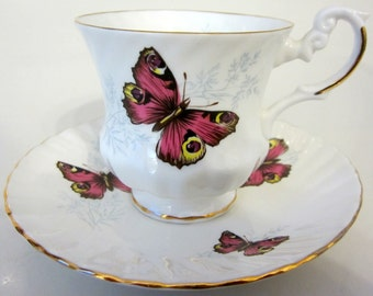 Teacup Saucer Butterfly Demitasse Flowers Gold Vintage Bone China England Footed Ribbed
